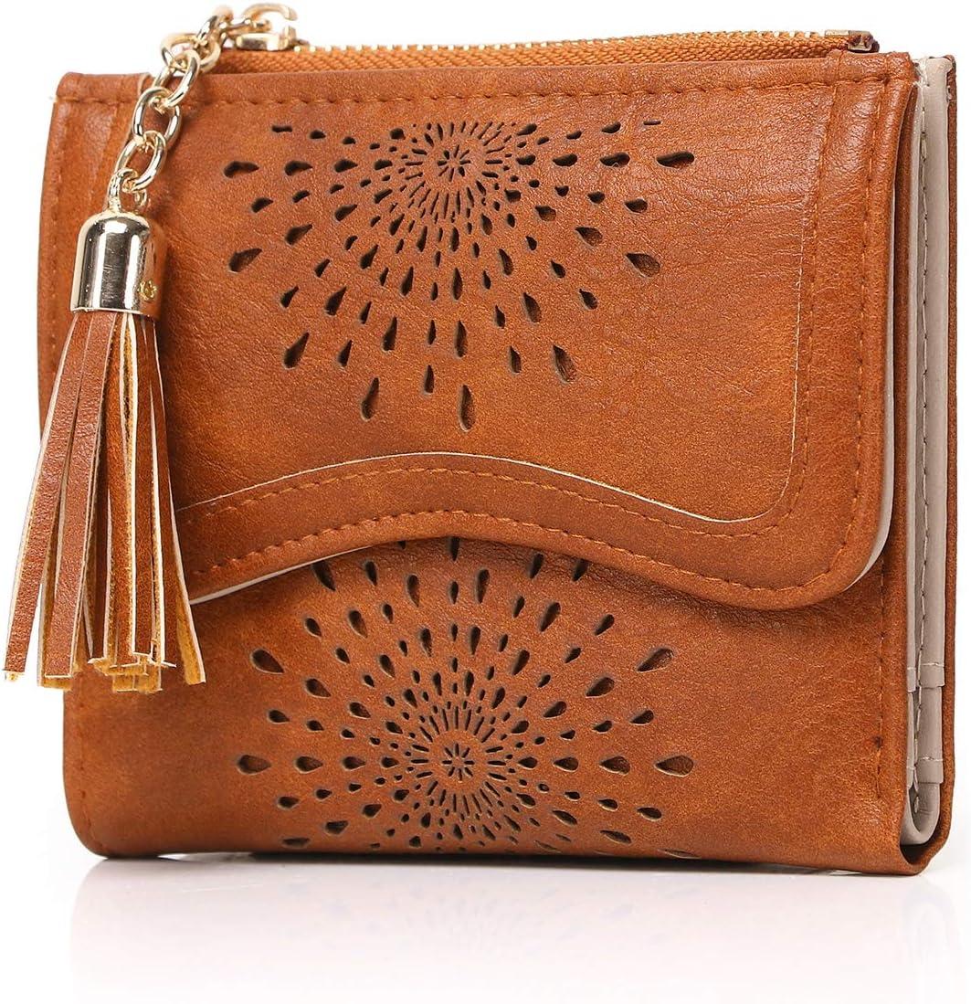 Cartera de Cuero de PU con diseño de Flecos con patrón de Recorte Billetera de Mujer (6 Ranuras para Tarjetas)