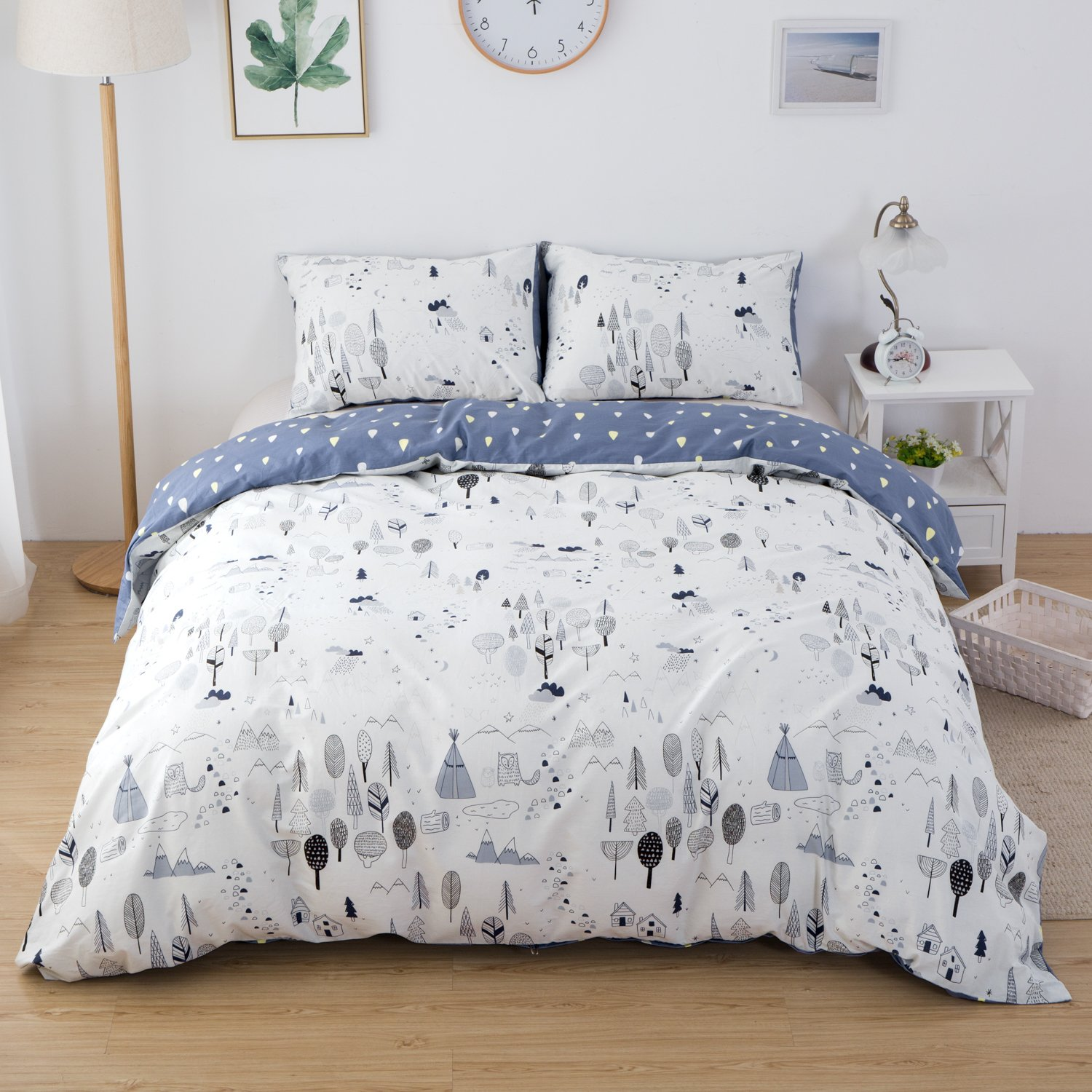 CLOTHKNOW Forest Duvet Cover Sets Full/Queen for Boys Girls Woods Tree Bedding Sets 3 Pieces - 1 Duvet Cover with Zipper Closure 2 Pillowcases NO Comforter