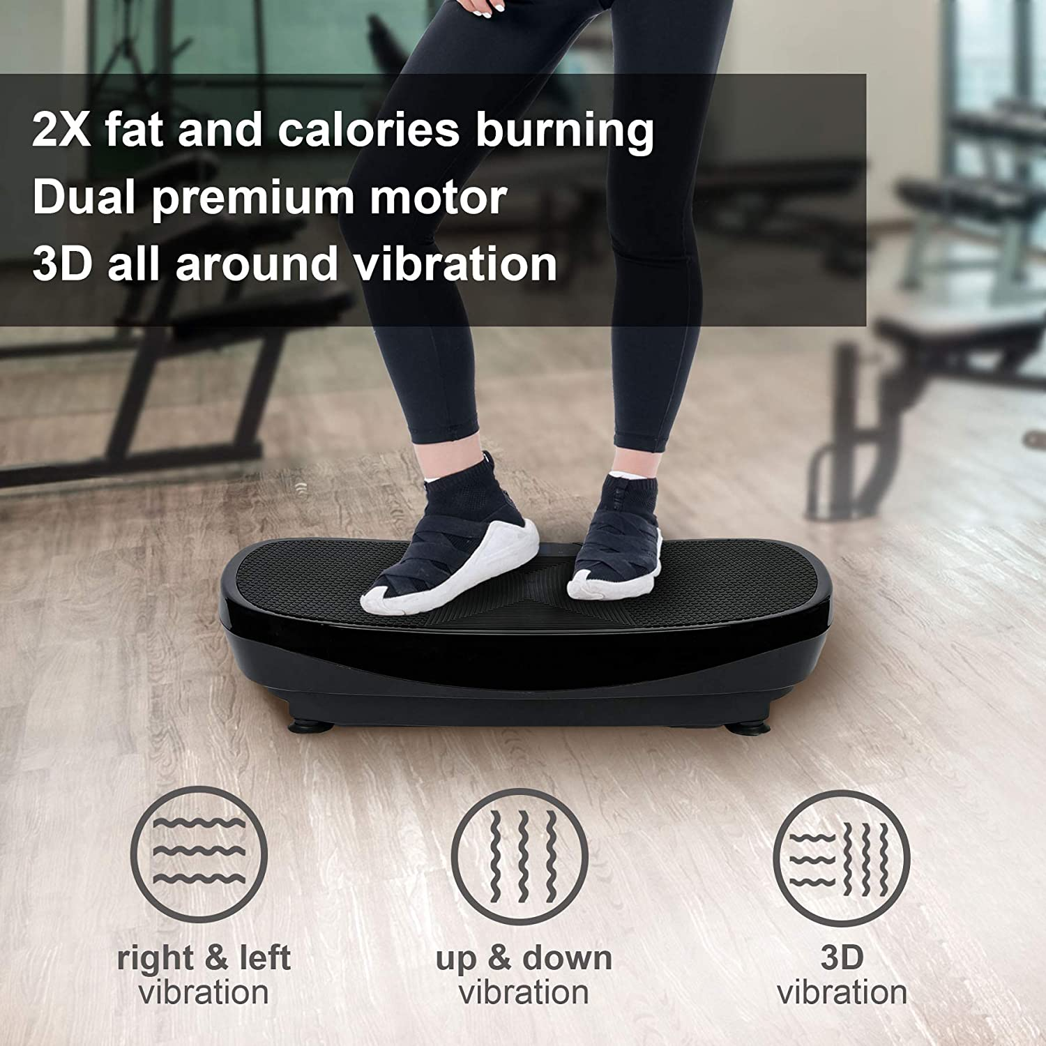 Z ZELUS 3D Fitness Whole Body Vibration Platform Machine – 400W Dual Motors Vibration Plate Crazy Fit Massage Exercise Machine with Remote Control and Resistance Bands