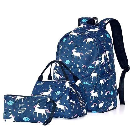 Sueño Unicornio Set de Bolsas Escolares, Junlion Suave Bolsa de Poliamida Mochila para Laptop Bolsa del Almuerzo Estuche de Lapices para Alumnos ...