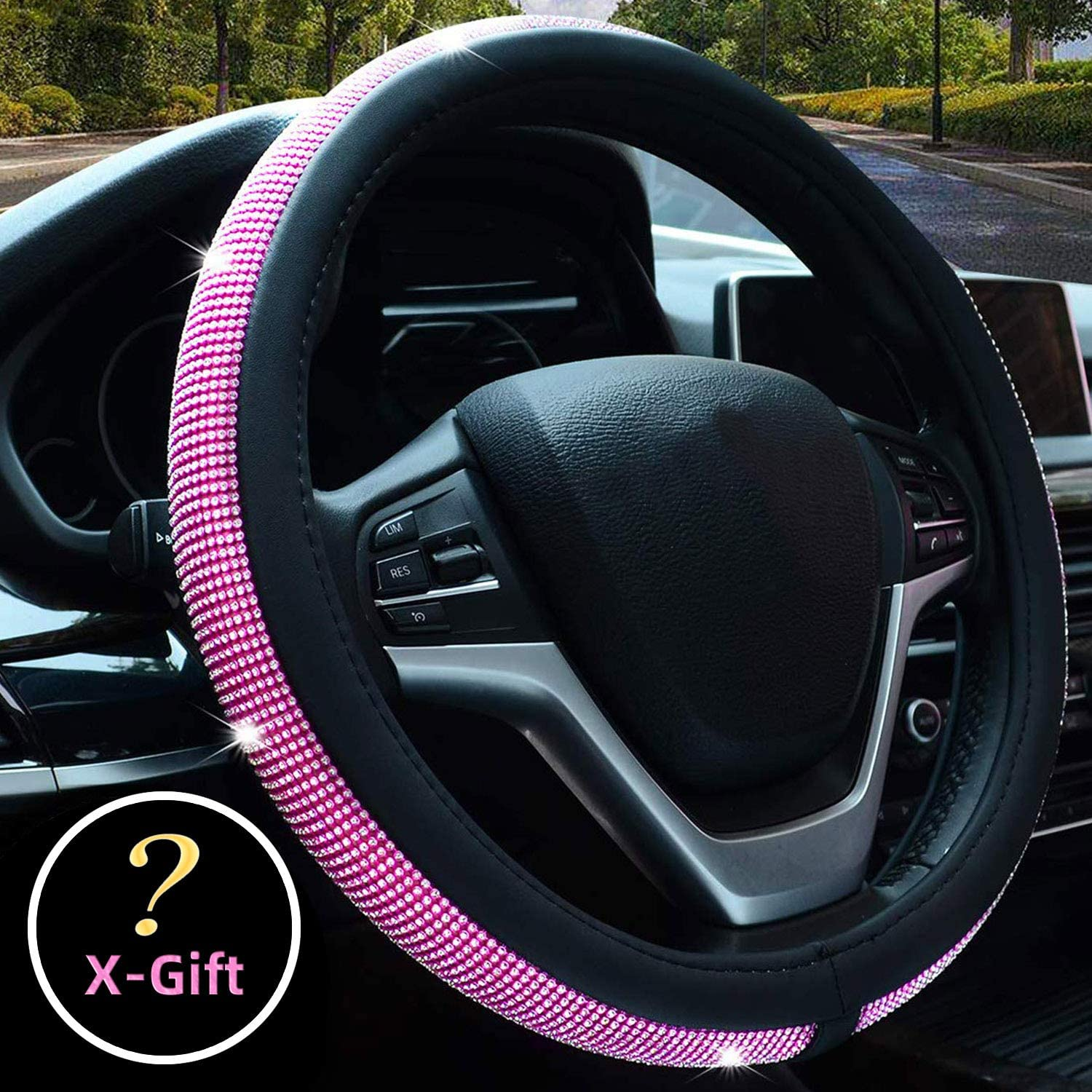 Valleycomfy Steering Wheel Cover with Microfiber Leather for Car Truck SUV 15 inch Style-Pink
