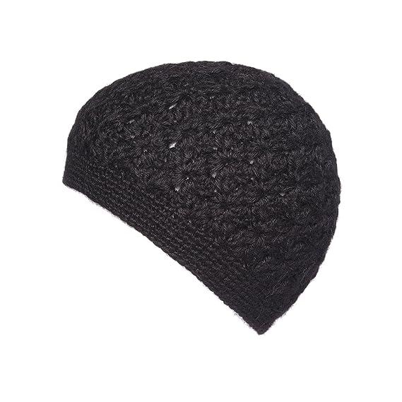 babcdab4152 100% Alpaca Crochet Hat Beanie (Black)  Amazon.co.uk  Clothing