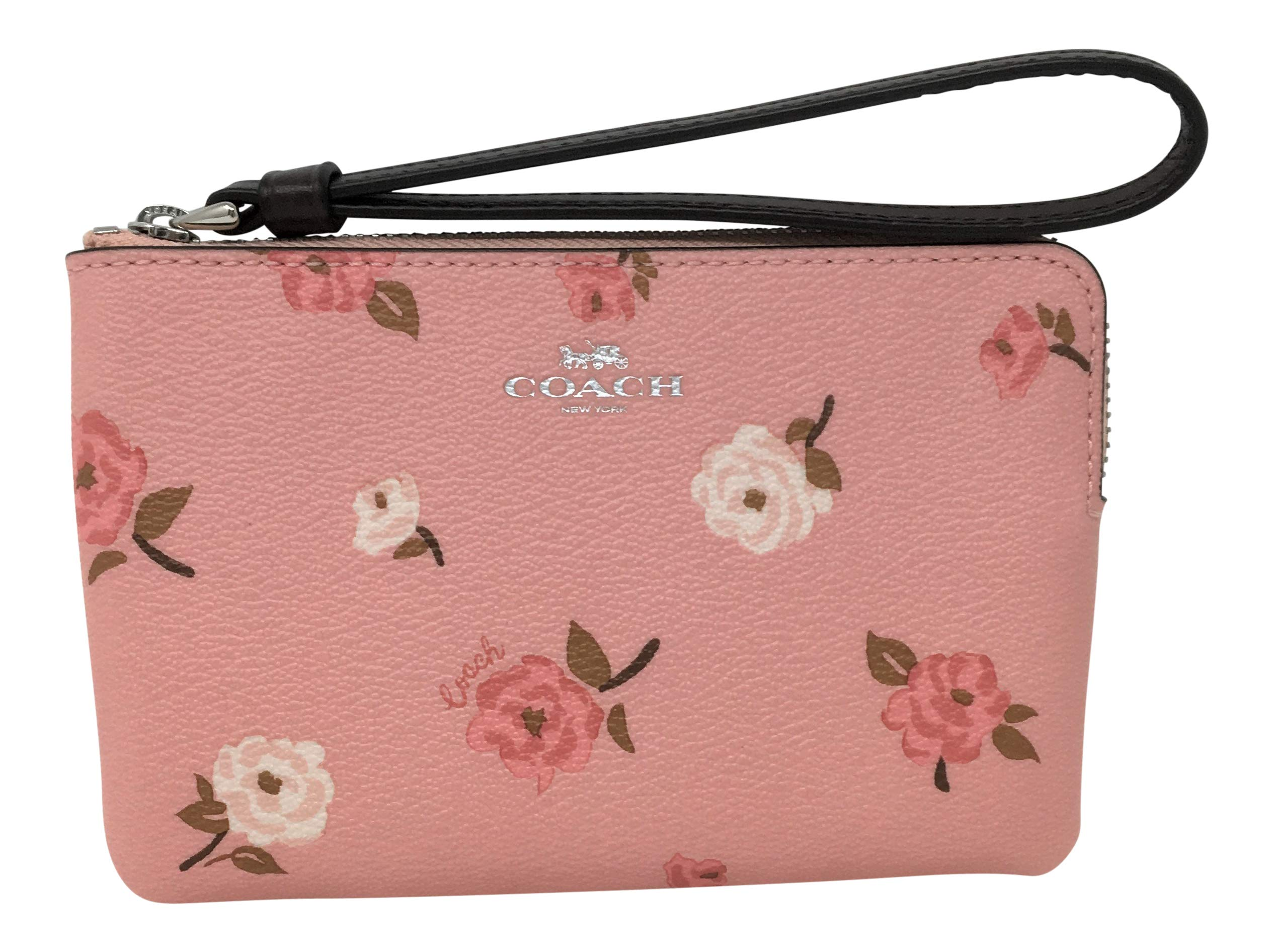 Coach Coated Canvas in Tossed Peony Print Small Corner Zip Wristlet Petal F67528