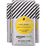 AmazonFresh Just Bright Whole Bean Coffee, Light Roast, 12 Ounce (Pack of 3)