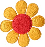 Daisy Flower - Yellow with Orange - Embroidered Sew or Iron on Patch