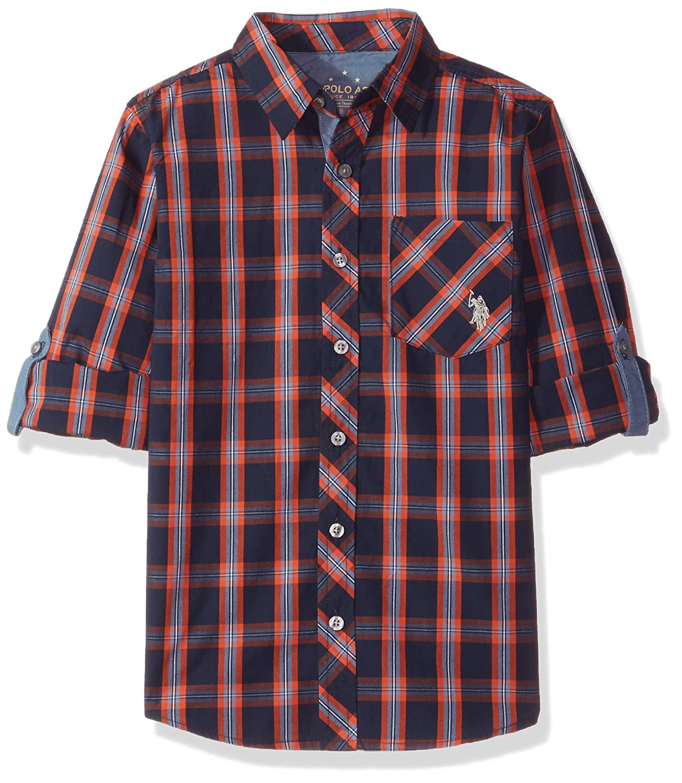 U.S. Polo Assn. Boys' Big Long Sleeve Plaid Shirt