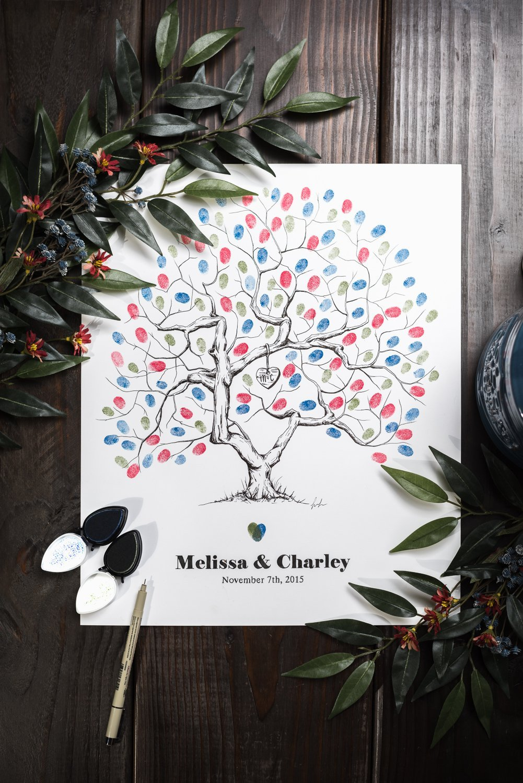 Fingerprint Tree custom wedding guestbook - Original thumbprint guest book alternative (Medium Size Love Tree Ink) includes 2 ink pads!!