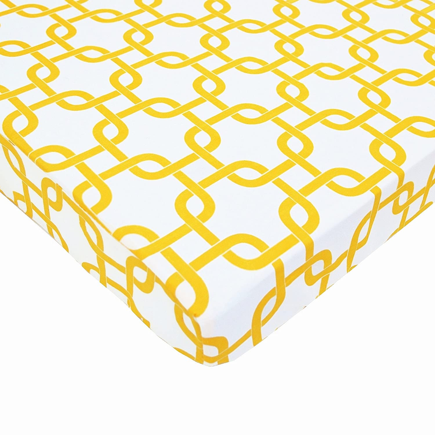 TL Care 100% Natural Cotton Percale Fitted Mini Crib Sheet, Golden Yellow Twill Gotcha, Soft Breathable, for Boys and Girls