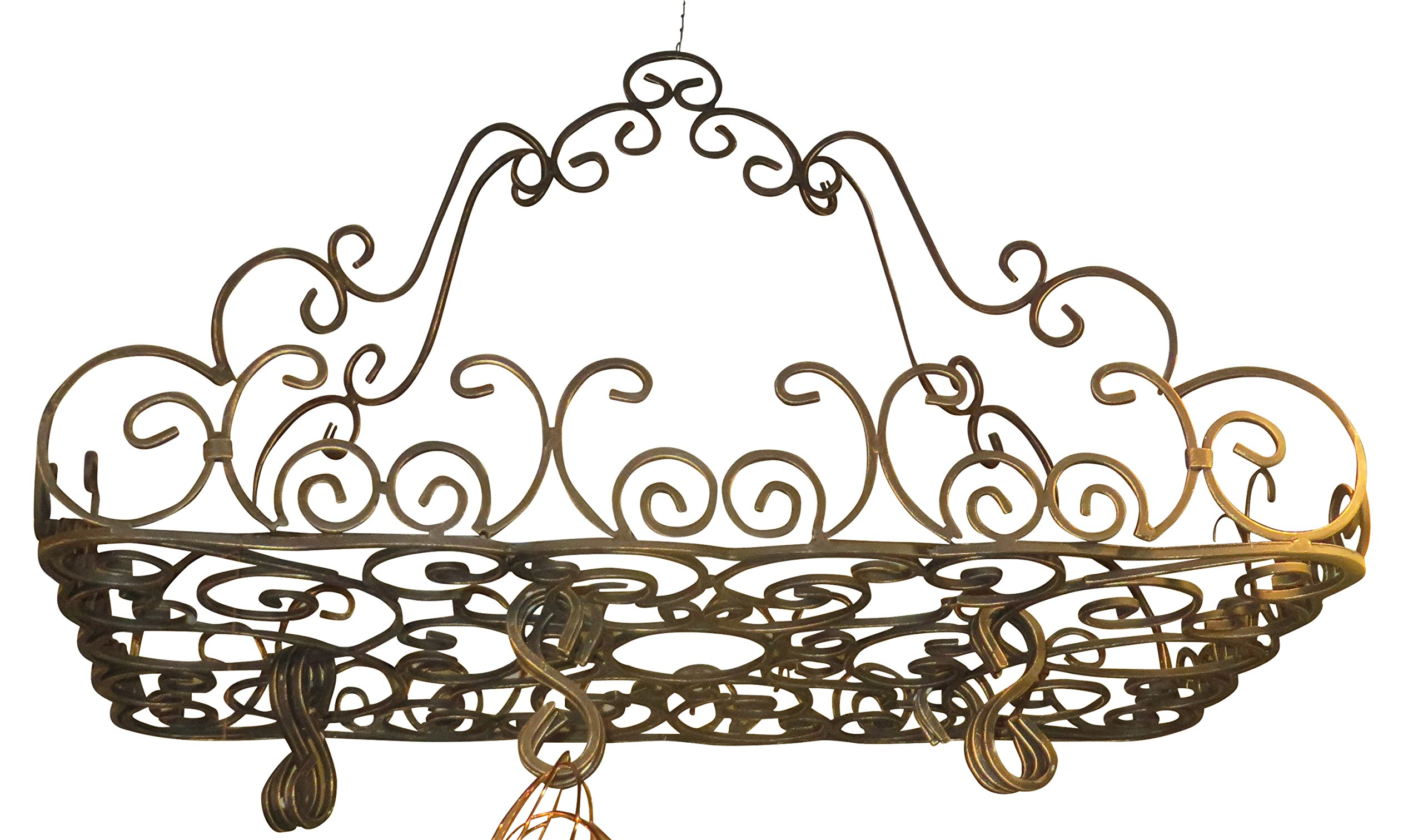 Posh Ornate French SCROLL Iron POT RACK Pan Hanging Ceiling Designer Metal