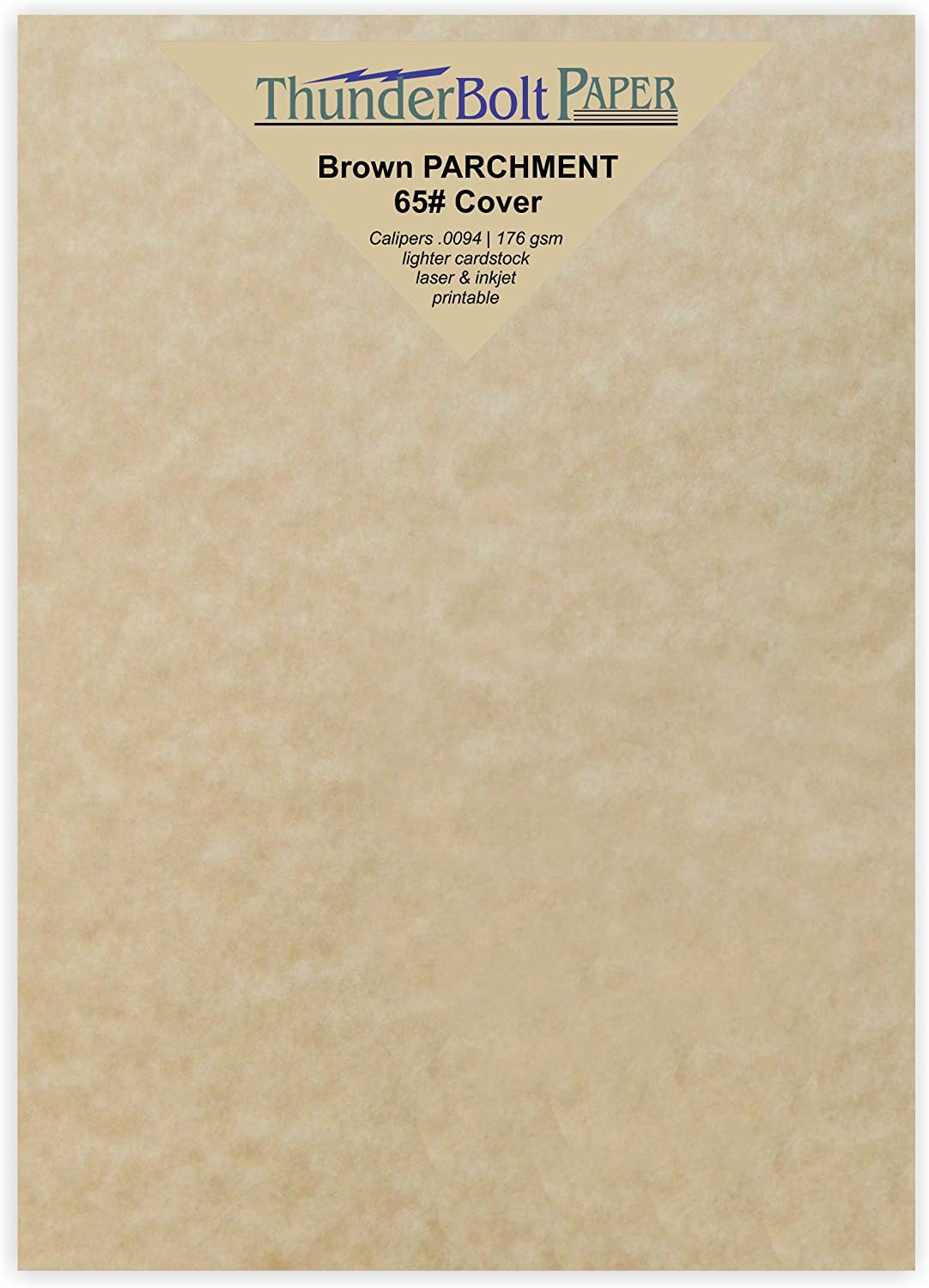 """100 Sandy Brown Parchment 65lb Cover Weight Paper - 5"""" X 7"""" (5X7 Inches) Photo