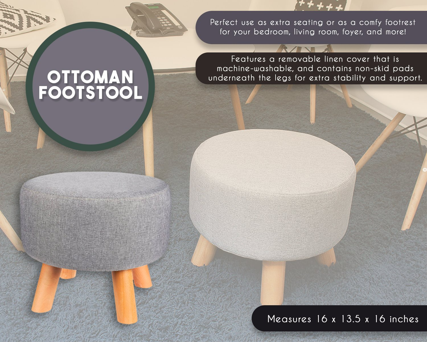Lob Design Pouf.Juvale Ottoman Footstool Round Pouf Foot Stool Rest With