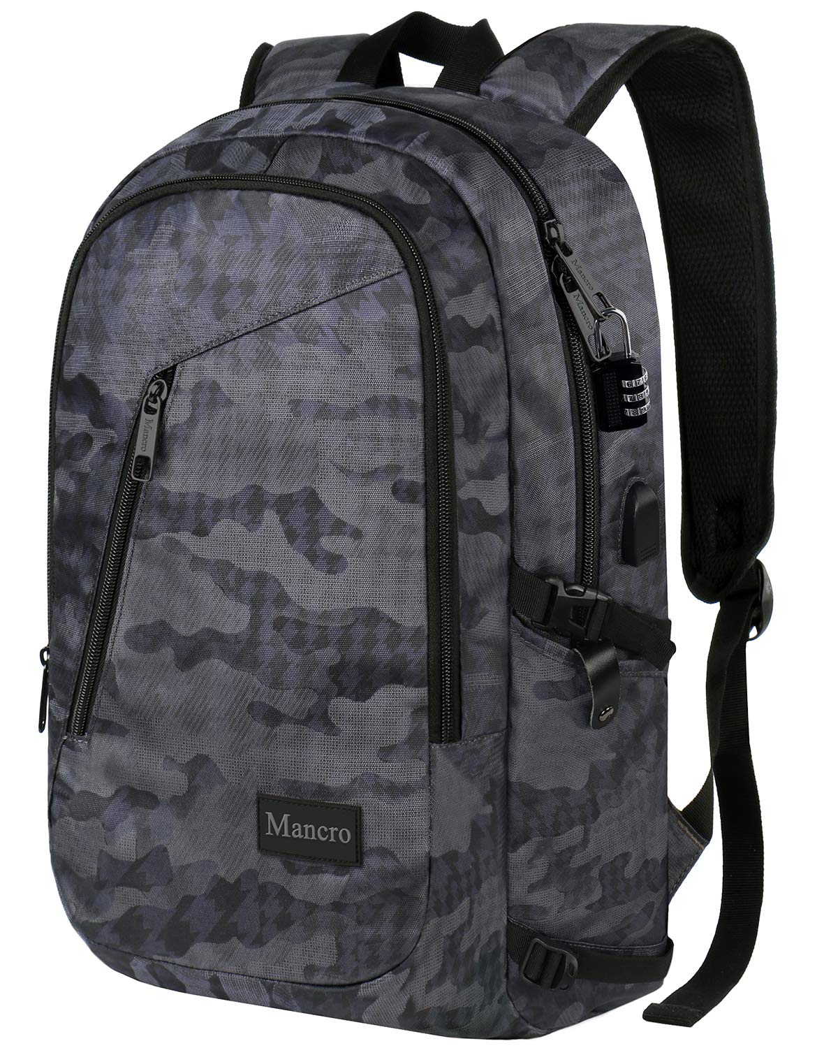 Camo Backpack, Camouflage Travel Laptop Backpack for Travel Accessories, Lightweight Anti-Theft Durable School Bag with Charging Port, Outdoor Daypack for Men Women Boys Girls, Fit 15.6 Inch Notebook by Mancro