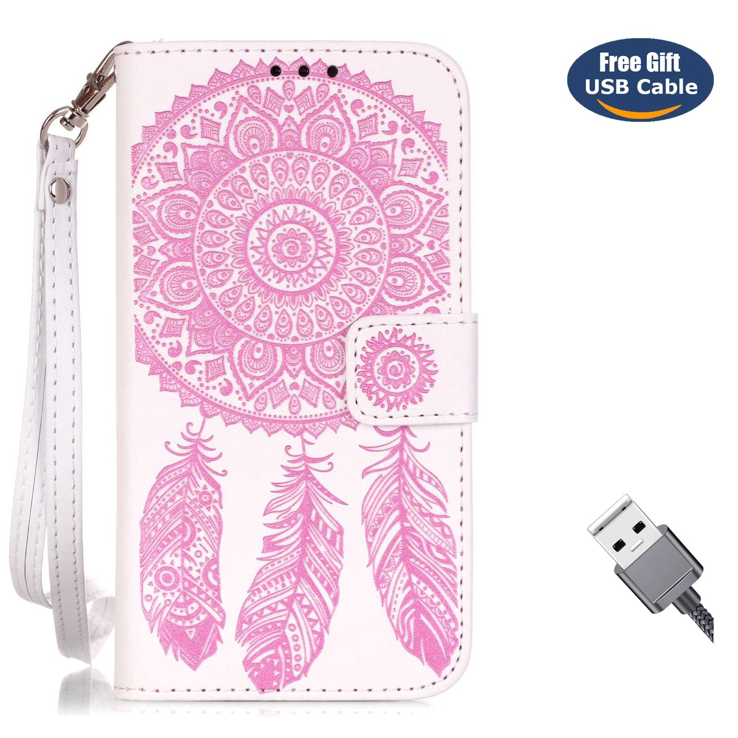 Aireratze Coque Galaxy S6,Housse S6, en Cuir PU Housse à Rabat Portefeuille Coque Mandala Dream Catcher Fleur Étui de Bumper Folio à Clapet pour Samsung Galaxy S6 (Marron)(+ Câble USB) hua2018830f60032