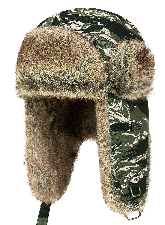 ililily Howels Camouflauge Faux Fur Lining Cotton Aviator Trapper Trooper Hat