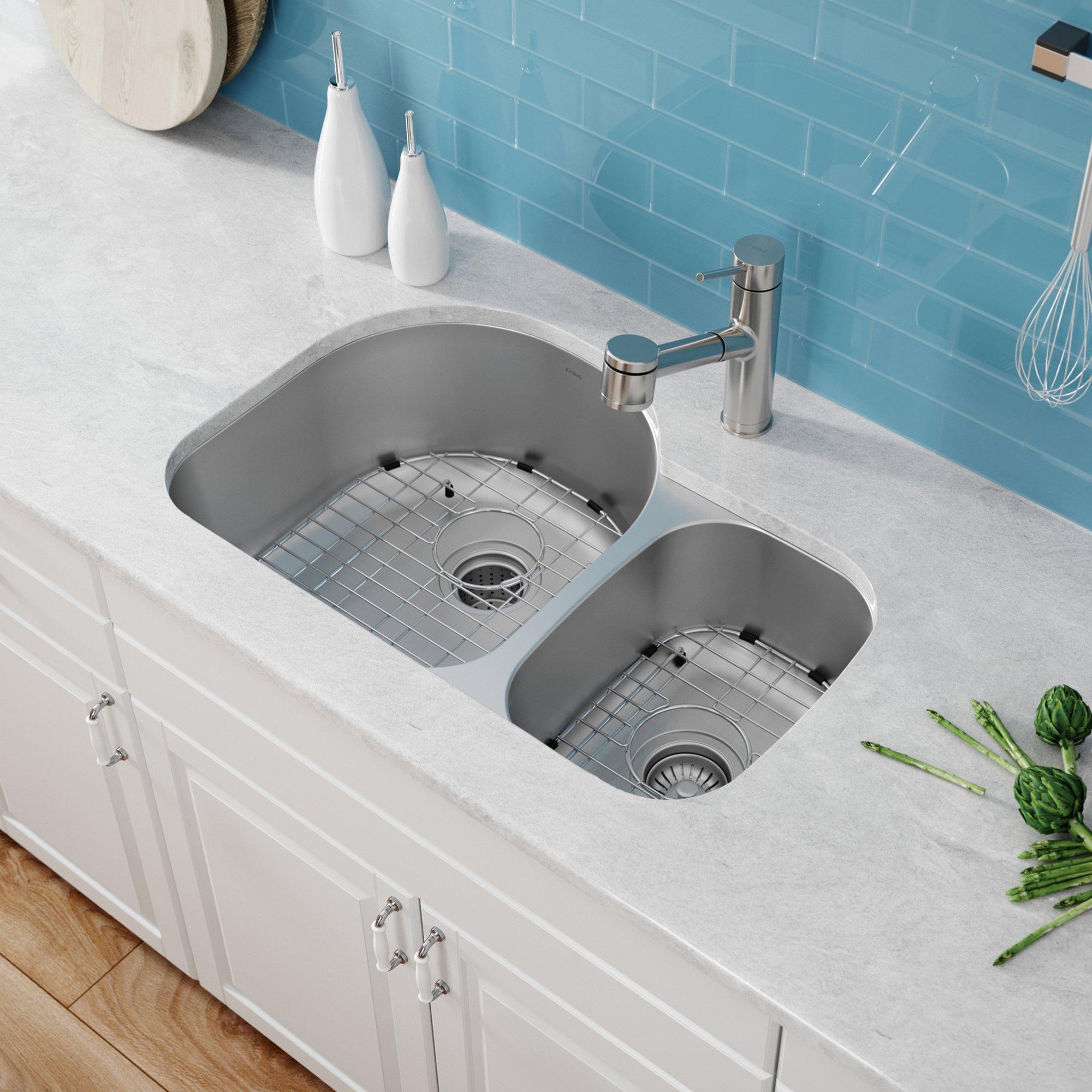 Kraus KBU21 30 inch Undermount 60/40 Double Bowl 16 gauge Stainless Steel Kitchen Sink by Kraus (Image #3)