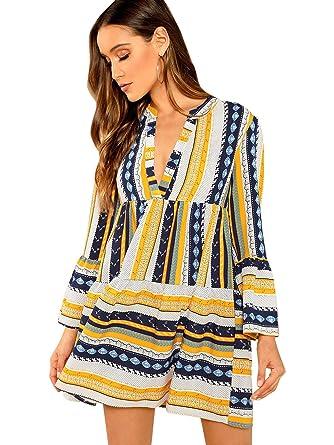 856eb0427e90 Floerns Women's V Neck Printed Smock Dress at Amazon Women's Clothing store: