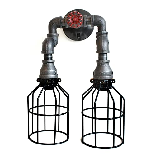 industrial vanity light fixtures wall sconce wall sconce industrial lighting w cages black pipe steampunk bathroom vanity light fixture amazoncom