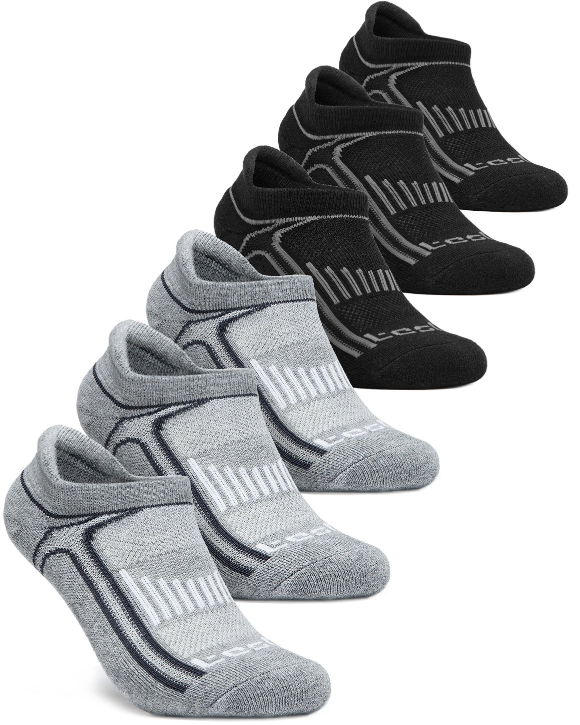 Tesla TM-MZS05-DGKZ_Large Men's 6-Pairs Atheltic No Show Socks Cushioned Comfort w Mesh MZS05 by Tesla