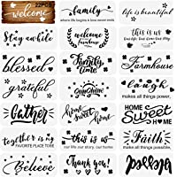 22 Pcs Word Stencils Inspirational Quote Stencils Home Sign Stencils Welcome Stencil for Painting on Wood DIY Crafts Art…