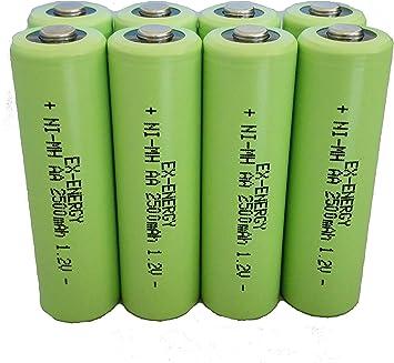 Pilas AA recargables de EX-ENERGY, 1,2 V, 2500 mAh, LSD, botón superior NiMH, 8 unidades, con caja de almacenamiento: Amazon.es: Electrónica