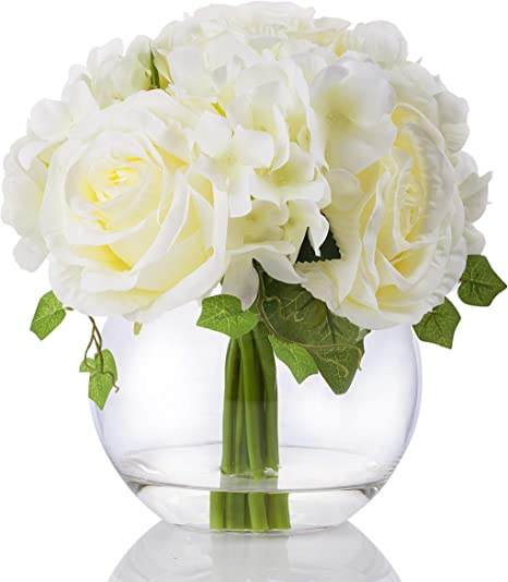 Amazon Com Enova Home Mixed Silk Blooming Hydrangea And Rose Flower Arrangement In Clear Glass Vase With Faux Water For Home Wedding Decoration Cream Home Kitchen