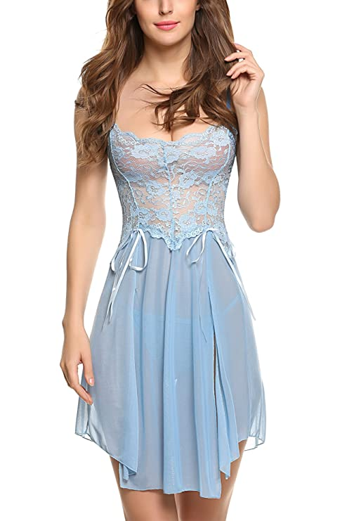 Avidlove Women Bridal Lingerie Lace Lingerie Sexy Lace Long Nightgown Blue Medium