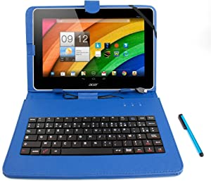 DURAGADGET Faux Leather Blue French AZERTY Keyboard Case w/Stand - Compatible with Acer Iconia A3-A10 | W510 | W511 | A3-A10-L849 | A3-A10-L662 & W510-1458 Tablets