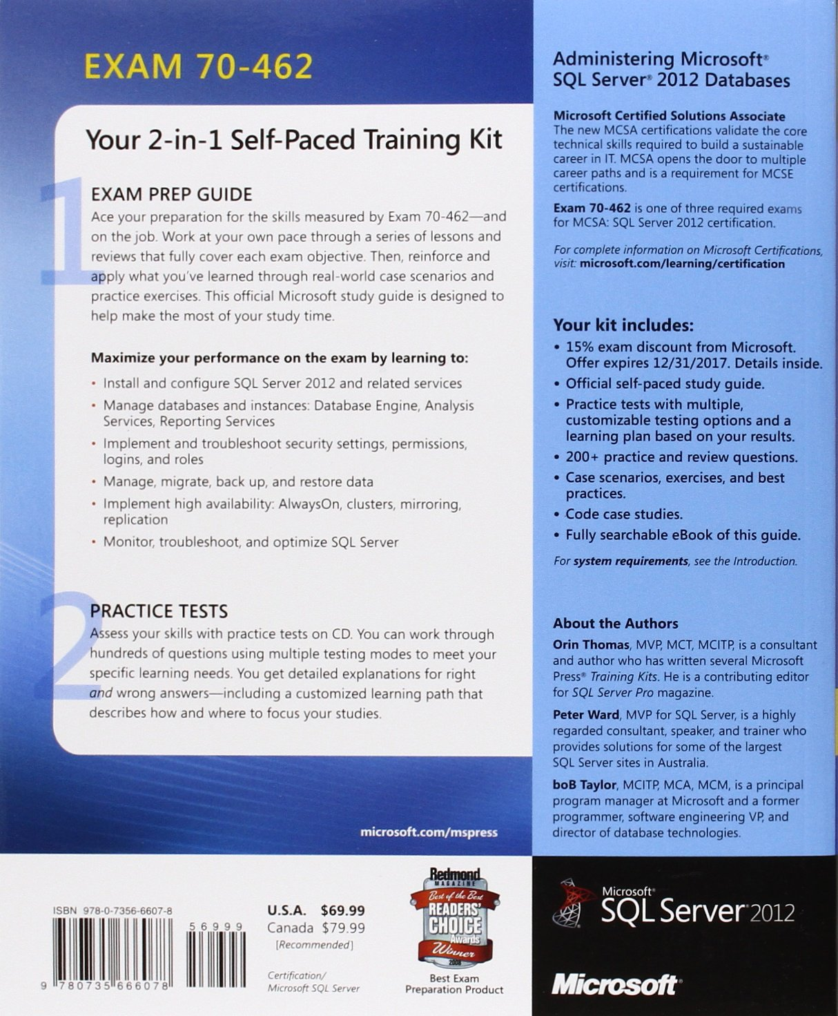 Training kit exam 70 462 administering microsoft sql server 2012 training kit exam 70 462 administering microsoft sql server 2012 databases mcsa orin thomas peter ward bob taylor 8601404246975 books amazon xflitez Gallery