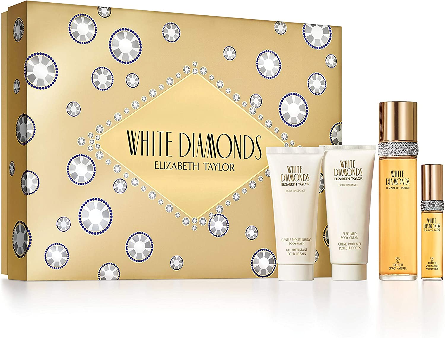 Elizabeth Taylor White Diamonds estuche Eau de Toilette 100 ml/Gel Hidratante Baño 100 ml/leche (aroma de cuerpo 100 ml/Eau de Toilette 10 ml: Amazon.es: Belleza