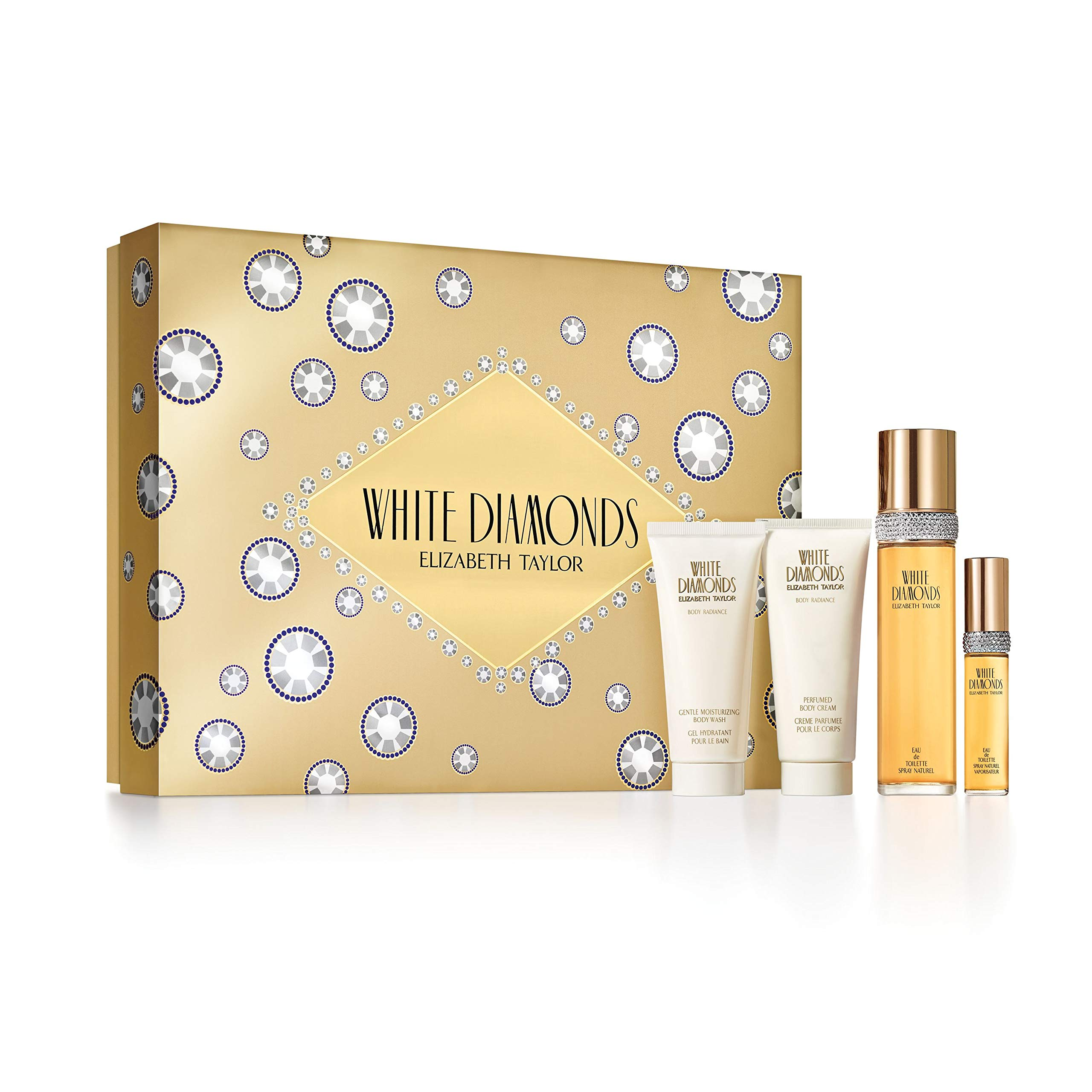 Elizabeth Taylor Ladies Gift Set (Includes 3.3oz Eau De Parfume, Body Lotion, Body Wash, Eau De Toilette Spray) by WHITE DIAMONDS