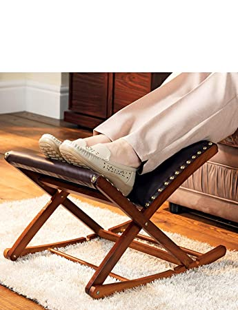 Merveilleux Rocking Footstool Solid Wood Adjustable Foot Rest Mahogany One Size