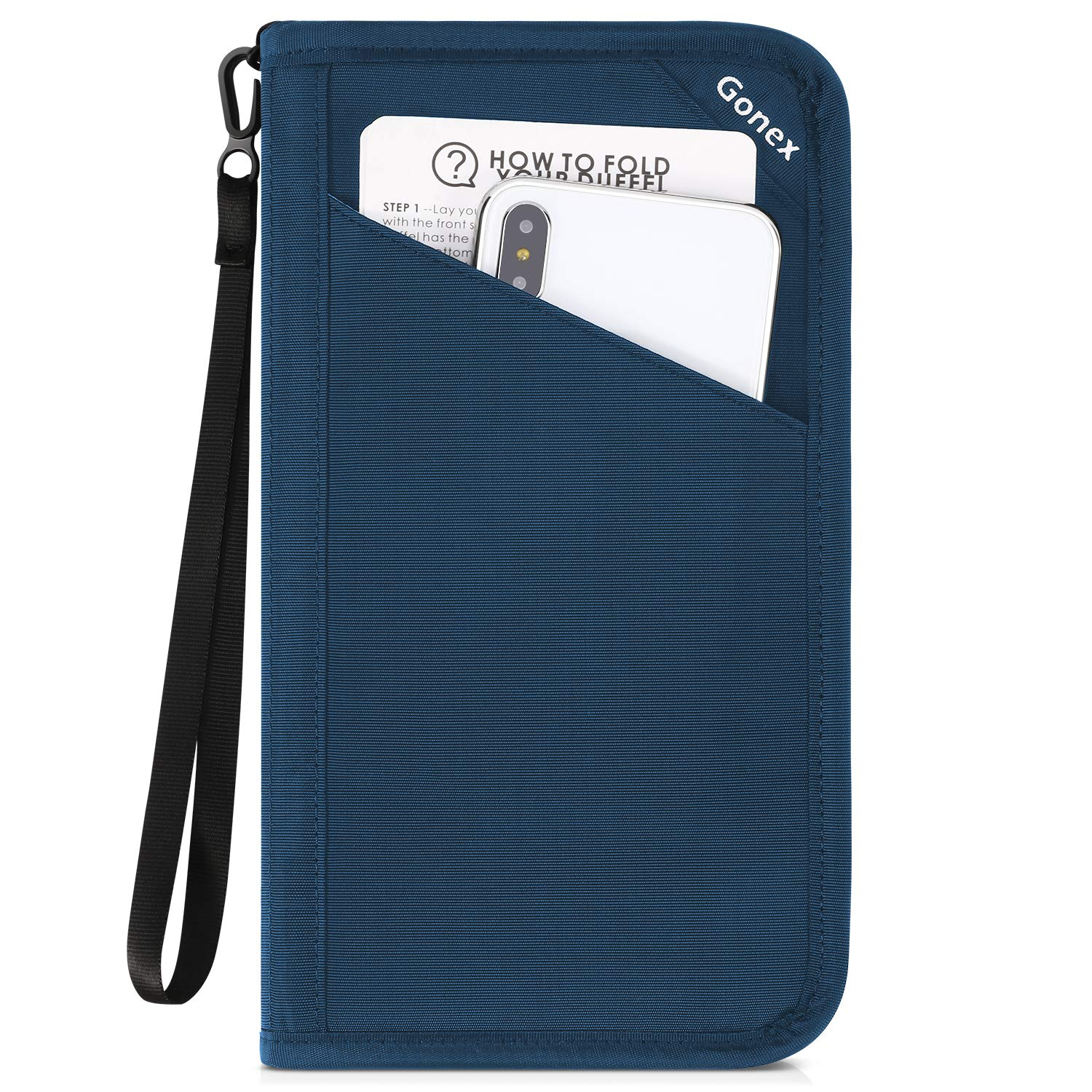 Gonex Passport holder RFID Blocking Travel Wallet with Removable Wristlet Strap for Men& Women, Water-Repellent Pale blue
