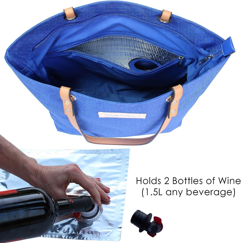 Azul PortoVino Bolsa de Ciudad Lleva 2 Botellas de Vino en el Camino