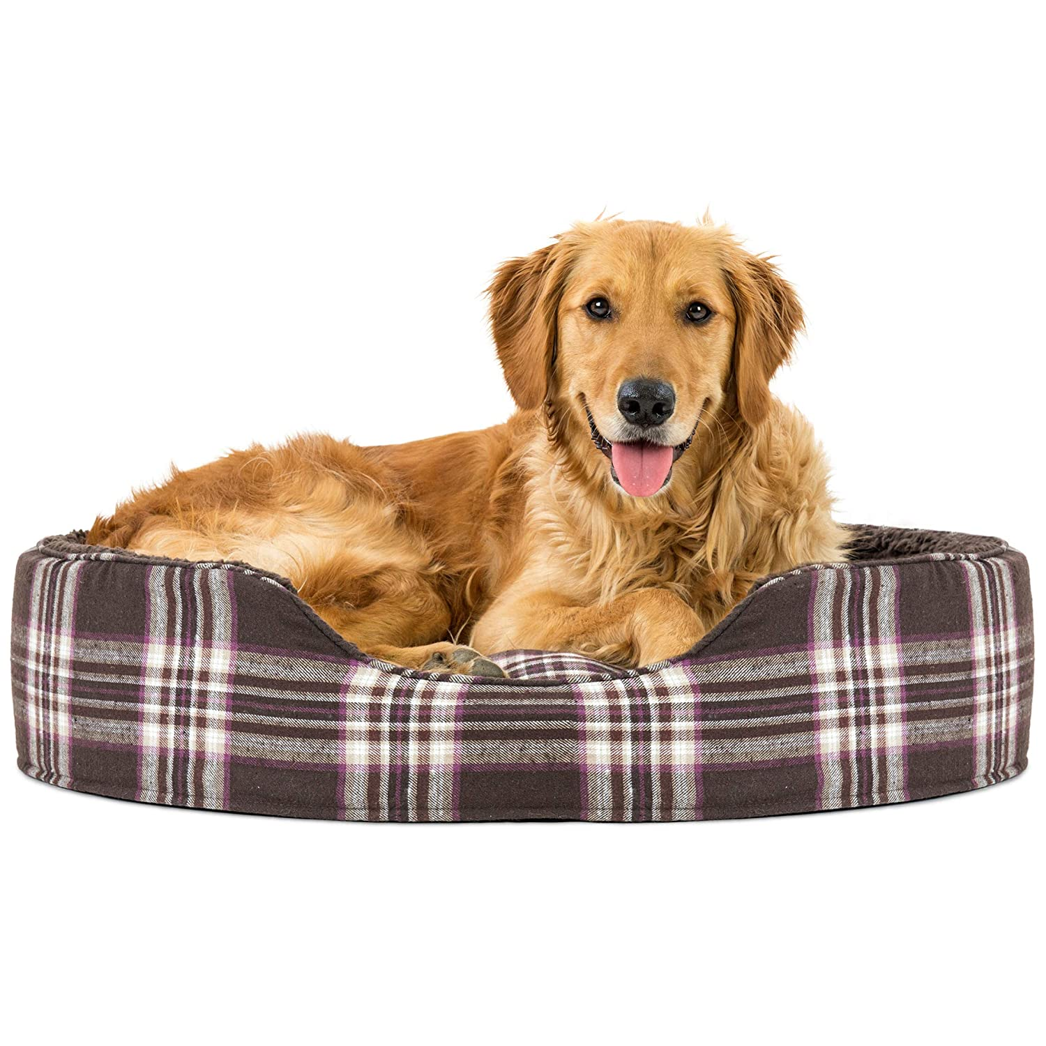 Java Brown X-Large Java Brown X-Large Fur Haven 13512426 Pet NAP Oval Terry Fleece and Plaid Bed for Dog or Cat, X-Large, Java Brown