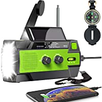 $45 » 【2021 Upgraded】Emergency Solar Hand Crank Radio, 4000mAh Portable Weather Radio, AM…