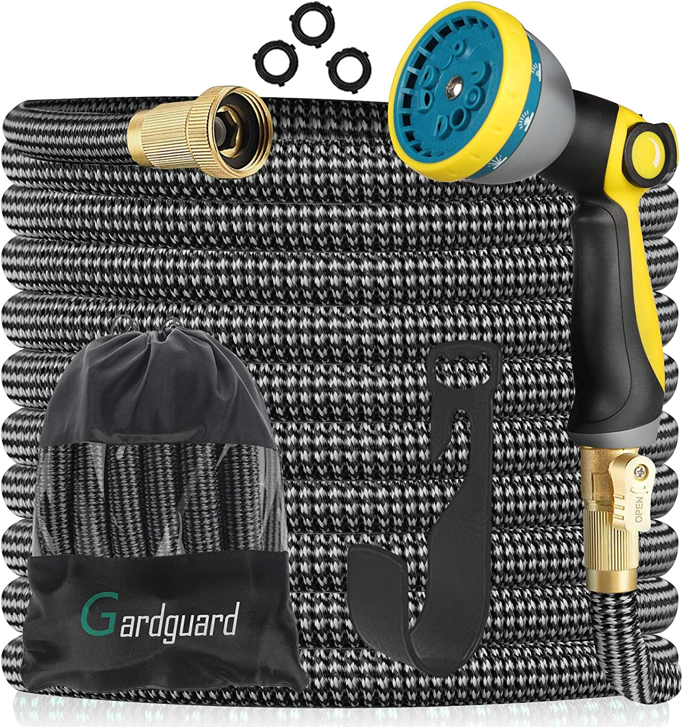 Gardguard 50FT Expandable Garden Hose with 10 Function High Pressure Nozzle, Water Hose with Durable 3-Layers Latex and 3/4 Solid Fittings, Lightweight Garden Hose for Washing and Watering
