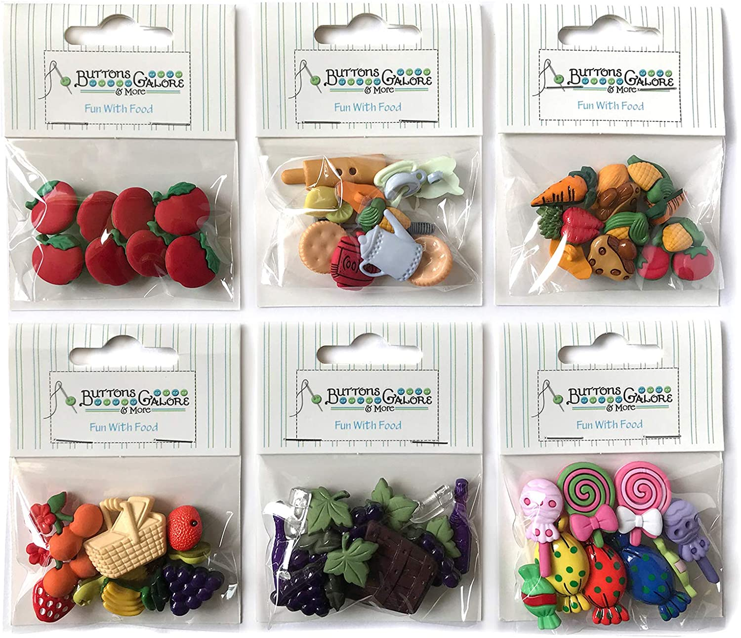 Buttons Galore 50+ Assorted Food Buttons for Sewing & Crafts - Set of 6 Button Packs