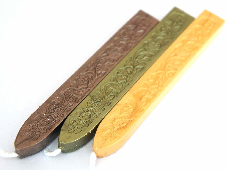/3/aste Mix cioccolato/ Ceralacca flessibile con stoppino/ /verde oliva perlato. /sole oro/