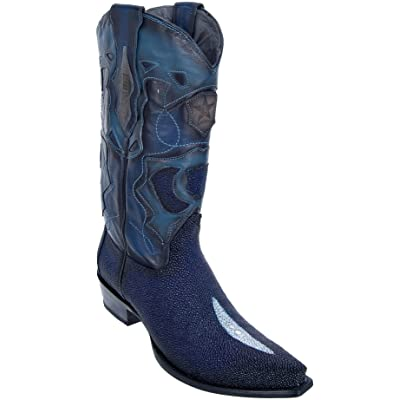 Men's Sinp Toe Single Stone Faded Navy Blue Genuine Leather Stingray Skin Western Boots