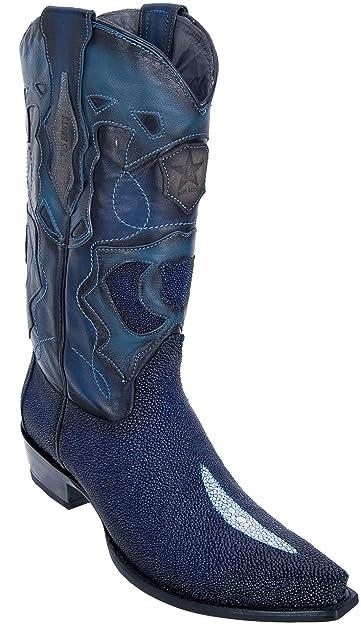 972622839da Men's Sinp Toe Single Stone Faded Navy Blue Genuine Leather Stingray Skin  Western Boots