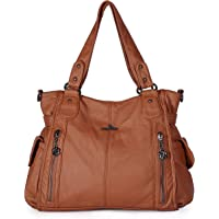 Angelkiss Large&Pockets Purse Handbags for Women/Washed PU Leather Purses/Travel Tote Bags/Crossbody Shoulder Bags 1193