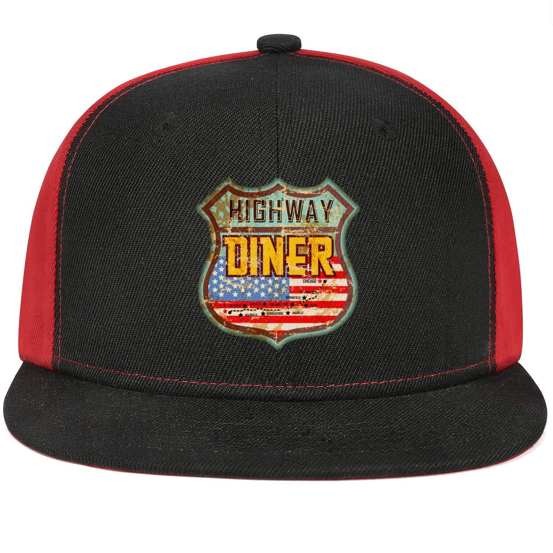 Unisex Mesh Snapback Cap USA National Flag Style Font Flat Bill Hip Hop Baseball Hats