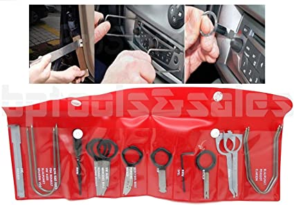 8MILELAKE 20pcs Car Stereo Radio Removal Tool Key Kit Compatible for Mercedes//BMW//VW//Audi//Ford