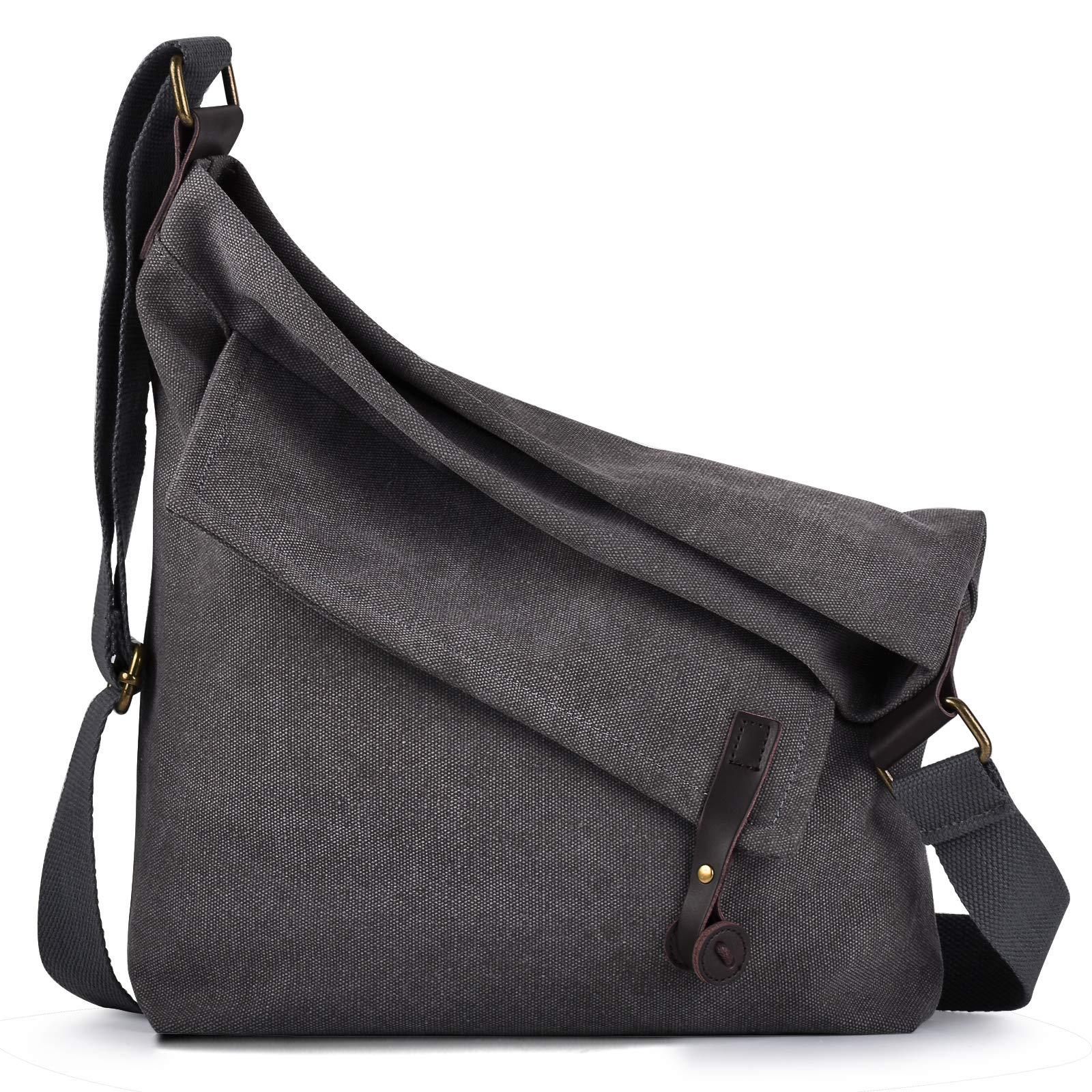 COOFIT Canvas Bag for Women Crossbody Bag Messenger Bag Shoulder Bag Hobo Bag Unisex (Gray(Thick shoulder strap))