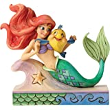 """Enesco Disney Traditions by Jim Shore """"The Little Mermaid"""" Ariel with Flounder Stone Resin Figurine, 5.25"""""""