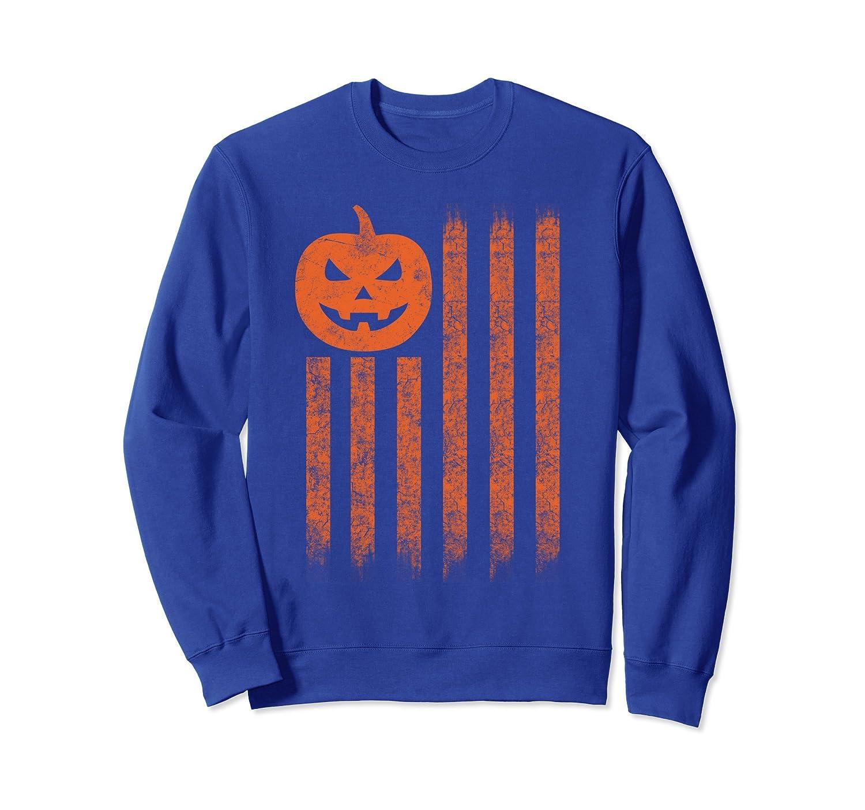 Grunge Style American Flag Pumpkins Halloween Sweatshirt-ln