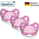 Dentistar® Schnuller 3er Set - Nuckel Silikon in Größe 1 von Geburt an, 0-6 Monate - zahnfreundlich & kiefergerecht - Beruhigungssauger für Babys - Pink Ankerherz