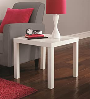 Genial DHP Parsons Modern End Table, Multi Use And Toolless Assembly, White