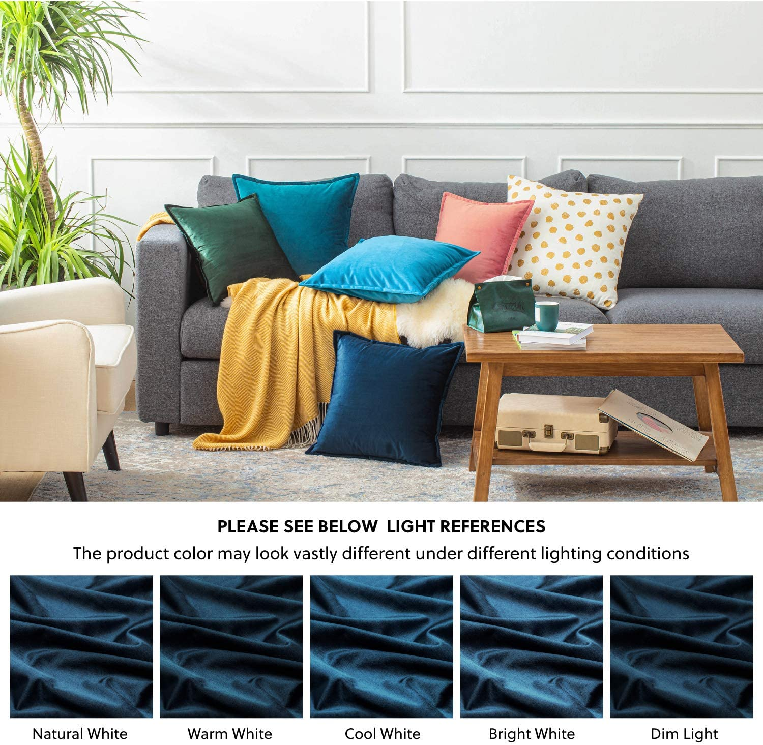 40cm x 40cm Bedsure Velvet Cushion Cover 2 Pack Sky Blue Decorative Pillowcases for Sofa and Couch 16in x 16in