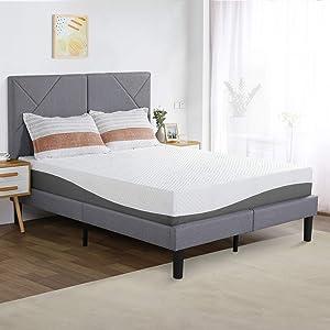PrimaSleep 10 Inch Wave Gel Infused Memory Foam Mattress,Gray (King)
